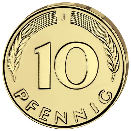4er-Münzsatz 10 Pfennig - Prägejahr 1949