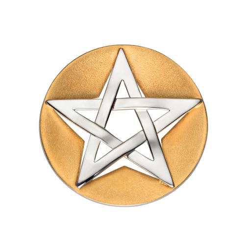 Anhänger Pentagramm - Silber teilvergoldet, mit Kautschukband