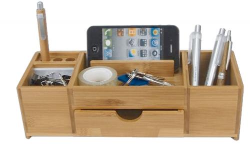 Bambus , Schreibtischständer Schublade groß