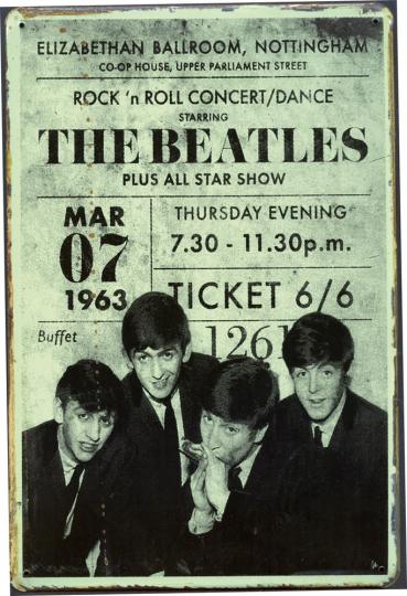 Blechschild »Beatles Ticket«.