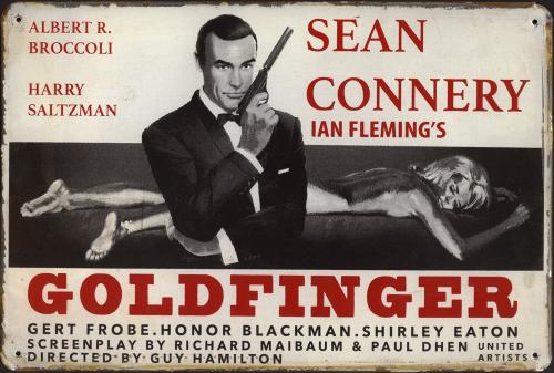 Blechschild »James Bond - Goldfinger«.