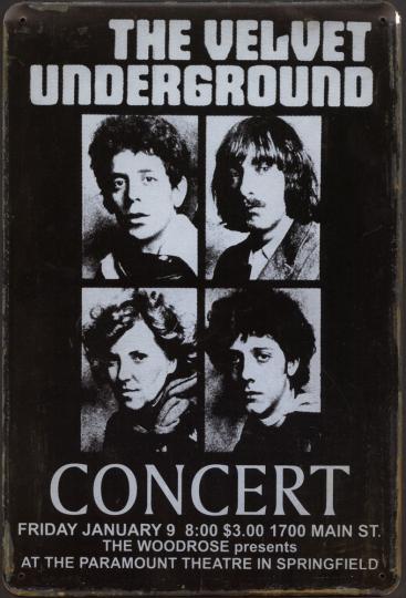 Blechschild »The Velvet Underground«.