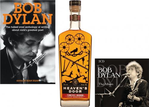 Bob Dylan Fan-Paket. Heaven's Door Bourbon Whisky, The Album - 2 Best of CDs, The Mammoth Book.