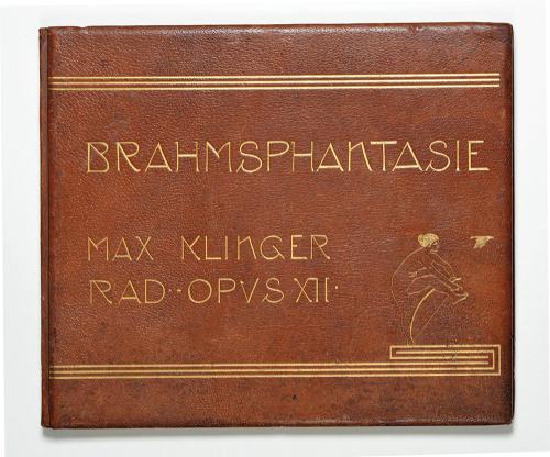 Brahms-Phantasie op. XII. Einundvierzig Stiche, Radierungen und Steinzeichnungen zu Compositionen von Johannes Brahms. Nummerierte Faksimile-Ausgabe samt Beiheft im Schuber.