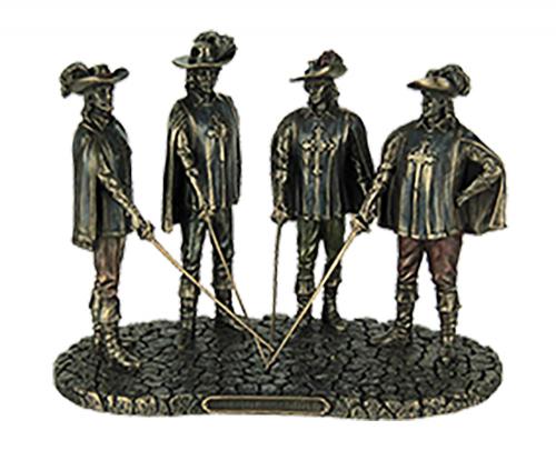 Bronzefigur 3 Musketiere und D'Artagnan.