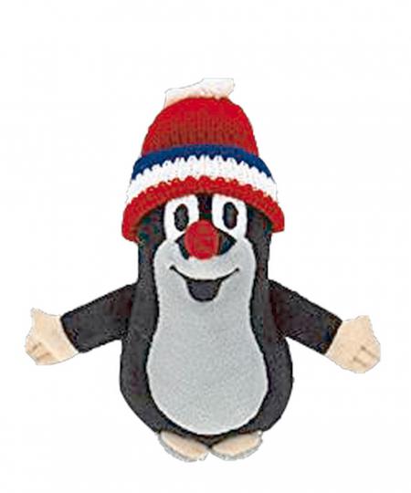 Der kleine Maulwurf mit Bommelmütze - Plüsch mit rot-blau-weißer Mütze