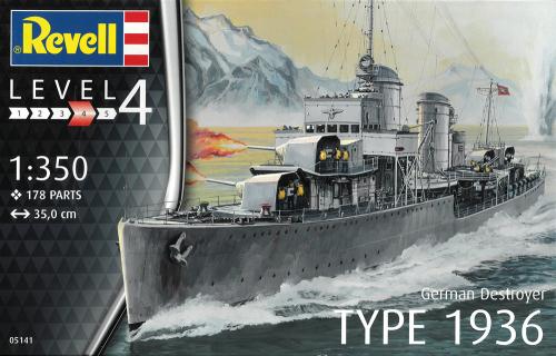 Deutscher Zerstörer TYP 1936 - Maßstab 1:350