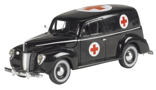 Ford Panel Van 1940 Black Ambulance - Modell 1:43