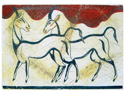 Fresken aus Akrotiri auf Santorin: Antilopen