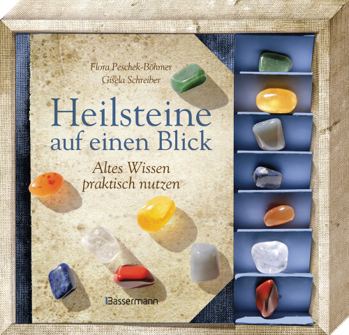 Heilsteine auf einen Blick-Set. Altes Wissen praktisch nutzen. Buch mit 7 Steinen.