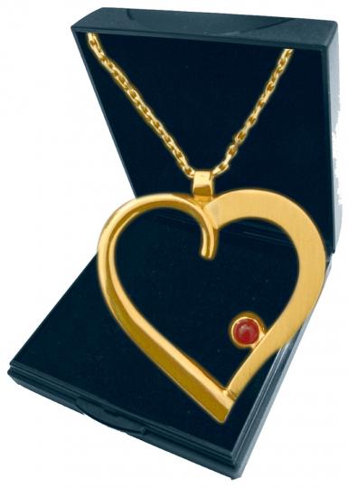 Herz-Anhänger - Silber, vergoldet mit Kette