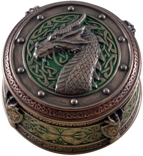 Keltische Drachenbox, rund.