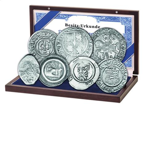 Münzset Bernsteinstraße - 7 Original-Münzen und 1 echter Bernstein