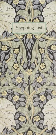 Notizblock für Einkaufslisten. William Morris.