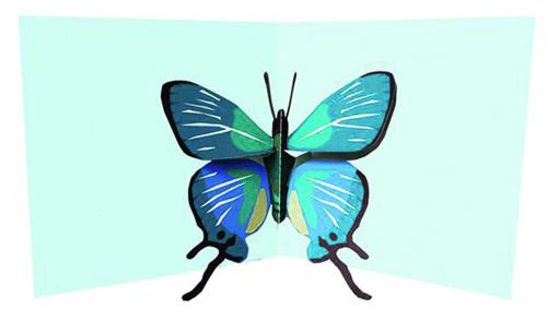 Pop-up-Grußkarte »Blauer Schmetterling«.