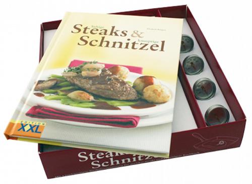 Saftige Steaks und knusprige Schnitzel. Buch und 4 Steakthermometer.