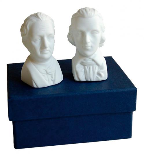 Schiller und Goethe zerstreut. Salz- und Pfefferstreuer.