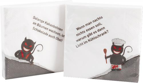 Schwarzer Humor - Servietten grau/weiß