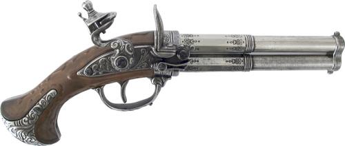 Steinschloßpistole doppelläufig Metall