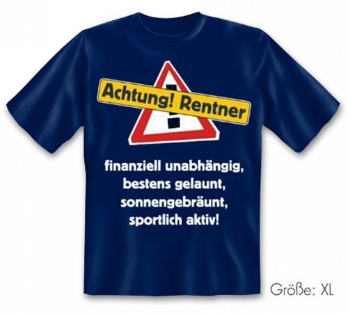 T-Shirt Achtung Rentner! - Größe XL