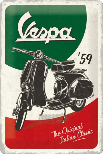 Blechschild Vespa, 1959.