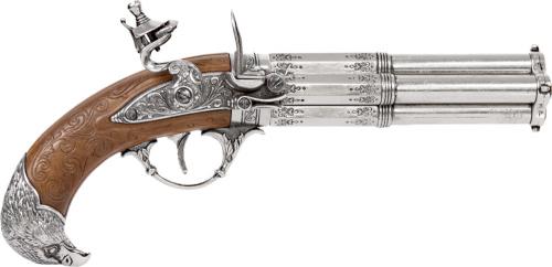 Vierläufige Steinschlosspistole mit Adlerkopfgriff