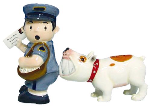 Salz- und Pfefferstreuer »Briefträger mit Hund«